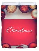 Silver Christmas Writing And Christmas Glass Balls. Duvet Cover