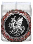 Silver Winged Norse Dragon - Icelandic Viking Landvaettir On Black And Silver Medallion Over White L Duvet Cover