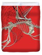 Skeleton Dragon With Red Duvet Cover