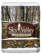Sky Valley Georgia Welcome Sign In The Snow Duvet Cover