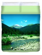Small Stream Foreground The Rockies Duvet Cover