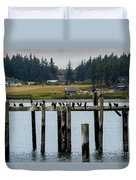 Small Village Along The Columbia River Duvet Cover by Mae Wertz