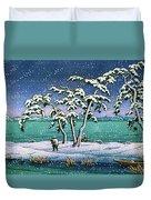 Snow At Hi Marsh, Mito - Digital Remastered Edition Duvet Cover