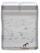 Snow Geese Over Oil Pump 01 Duvet Cover by Rob Graham