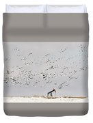 Snow Geese Over Oil Pump 02 Duvet Cover by Rob Graham