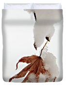 Snowy Leaf Duvet Cover by Mary Jo Allen