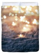 Snowy Winter Background With Fairy Lights. Duvet Cover
