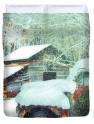 Softly Snowing On The Country Farm Duvet Cover