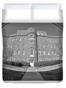 South Carolina State Hospital Black And White Duvet Cover by Lisa Wooten