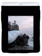 Split Rock Lighthouse Winter Duvet Cover