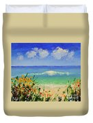 Spring Flowers And Sea And Clouds Duvet Cover