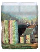 Spring On The Farm - Old Barn With Two Silos Duvet Cover