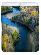 Springtime On The Manistee River Aerial Duvet Cover