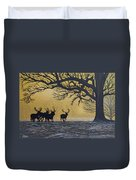 Stags At Dawn Duvet Cover