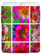 Stained Glass Pink Flower Collage  Duvet Cover