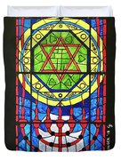 Star Of David Stained Glass Duvet Cover