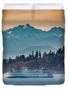 State Ferry And The Olympics Duvet Cover