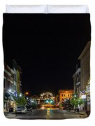State Street With The Newly Lit Bristol Sign Duvet Cover