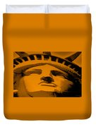 Statue Of Liberty In Orange Duvet Cover