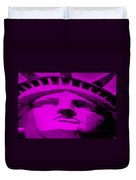 Statue Of Liberty In Purple Duvet Cover