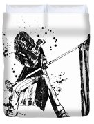 Steven Tyler Microphone Aerosmith Black And White Watercolor 01 Duvet Cover