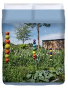 Sticks With Colorful Balls In A Garden Duvet Cover