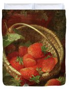 Still Life Of Strawberries With A Cabbage White Butterfly Duvet Cover