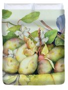 Still Life With Plums, Walnuts And Jasmine Duvet Cover