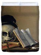 Still Life With Skull, Books, Flute And Pipe Duvet Cover