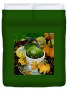 Still Live With Autumn Coffee Cup And Gourds Duvet Cover