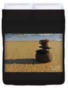 Stone Balance On The Beach Duvet Cover
