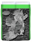 Stone Map Of Ireland Bw Duvet Cover