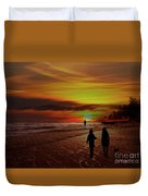 Strolling The Beach At Olon Duvet Cover