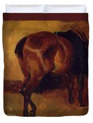 Study For Bay Horse Seen From Behind Duvet Cover