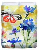 Summer Butterfly In Cornflowers Duvet Cover