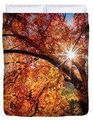 Sun Peaking Through The Autumn Colors  Duvet Cover