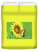 Sunflower And Swallowtail Duvet Cover