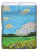 sunflower valley- Sunflower Art-Impressionism painting Duvet Cover