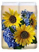 Sunflowers And Hydrangeas Duvet Cover