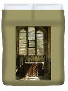 sunlight on linen fold altar in Trinity church York Duvet Cover