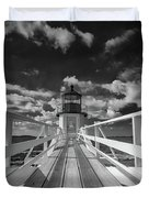 Sunny Skies At Marshall Point In Black And White Duvet Cover