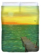 Sunrise At The Dock Duvet Cover
