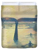Sunrise Rowers On Lady Bird Lake Austin Duvet Cover