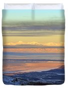 Sunrise View Across Cook Inlet From Above Anchorage Alaska Duvet Cover