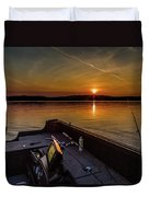 Sunset Fishing Dog Lake Duvet Cover