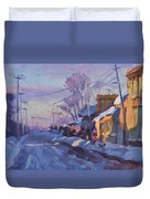 Sunset In A Snowy Street Duvet Cover
