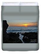 Sunset In Gale Beach. Coast Of Algarve Duvet Cover