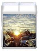Sunset In Parking Lot 2 Duvet Cover