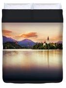 Sunset On Lake Bled Duvet Cover