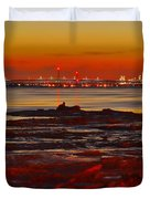 Sunset On The Still Frozen Upper Niagara River Duvet Cover